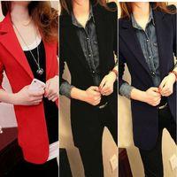 Casual Women  Lapel Shrug Classic All-match Oversized Long Blazer Outwear Coat Jacket  #66148