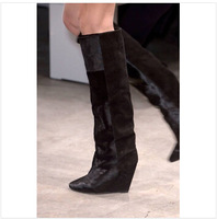 2015 Isabel Marant wedges knee high boots women suede leather calf hair long boots Shelia black leather designer high heel booty