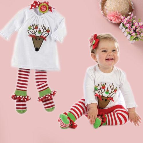 Girls Baby Cartoon Deer Top Half Sleeve Deer Pants Suit Child Christmas Outfit(China (Mainland))