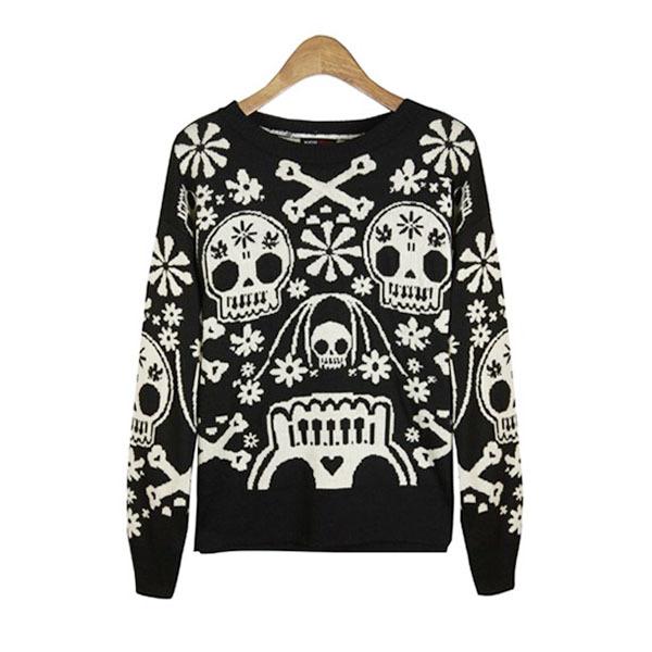 Punk Sweater Pattern Skull Flower Pattern Sweater