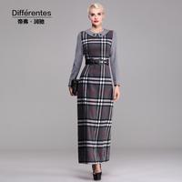 Twods 2014 new autumn and winter long wool dress classic silver plaid peter pan collar maxi fashion warm woolen dress