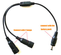 Y Cable 1 To 2 Output  Extension Cable For Bike Light Headlight Battery Pack (1 Battery Use For 2 Lamps At A Time) Free Shipping