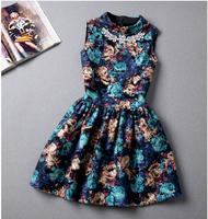 2014 New Fashion Autumn Sleeveless Women Dress O-Neck Casual Wool Dress Floral Print Winter Dress Diamond Party Dresses D481A2S