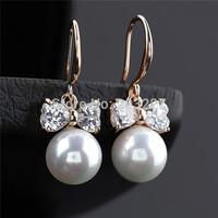 2014 New Statement Wedding Drop Earrings bowknot Dangle zircon Earrings Pearl Earrings For Women Jewelry