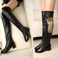 2014 New Arrival Sexy Ladies Stretch Kitten Block Heel Over The Knee Thigh High Boots Fur Shoes 2015