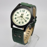 SOKI Green Date Mens Military Army Analog Quartz Leather Band Wrist Watch W106