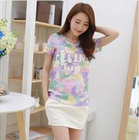 new Korean style sweet lace print empty o-neck t shirt 2014 fashion tops women plus size women's clothing