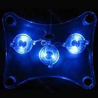 S111  Free Shipping 1 pc USB Cooler Cooling Pad Heatsink 3 Blue LED Fan For PC Laptop Notebook