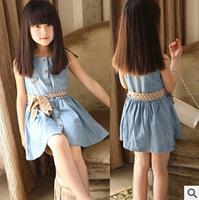 2014 Hot Baby Girls denim dress + belt coronation party princess dresses for Halloween,Autumn Winter Kids clothings