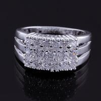 Anel de prata Women 925 sterling silver ring 2014 Wholesale prata 925 retro christmas crystal jewelry JZ5514