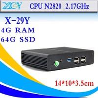 smallest Intel Celeron N2820 4gb ram 64gb ssd mini serve fanless no noise less heat thin client support wireless keyboard