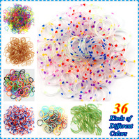 Hot Sale 10packs/lot 36 Different Colors Silicone Loom Bands Refill For Make Rubber Band Bracelet With S-Clip Hook (300 bands)