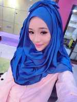 mu618 2014 newst design two layers chiffon and silk like fabric lovely style muslim islamic hijab turban