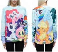 Autumn Harejuku New 2014 Women/Men Animal Cartoon My Little Pony Print 3D Hoodies Sweatshirts Casual Pullovers Sportswear tshirt