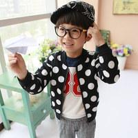 Free shipping 2014 new children's clothing boys long-sleeved long-sleeved jacket zipper jacket dots