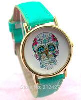 Freeshipping 1pcs/lot new model different face design Geneva quartz watch,PU leather band,precise quartz movement,several styles