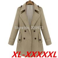 XL-5XLsize brand trench 2014 Autumn euroepan style extra plus size army green khaki trench coat women overcoat free shipping