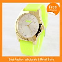 Epacket Free Shipping 10pcs/lot New Famous Designer Ladies Sports Brand Silicone Watch Jelly Watch Women Rhinestone Quartz Watch