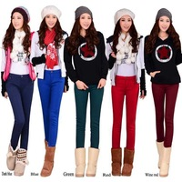 2014 Autumn Winter candy color women stretch warm jeans thickening plus velvet trousers skinny pencil pants free shipping!