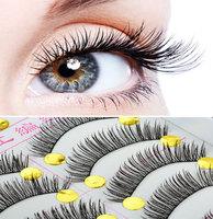 New Hot 20 Pairs Long Eyelash Curling False Eyelashes Makeup Natural Thick Black Fake Eye Lashes Free Ship