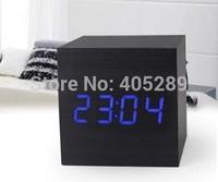 FreeShip by DHL 100pcs/lot Wholesale Wood Alarm Clock Voice Control LED clocks digital clock despertador For Best gift