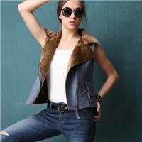 New Women Vest PU Cashmere Spliced Fashion Casual Thick  Warm Winter Vest Coat  Waistcoat Size S M L  Free Shipping XX670