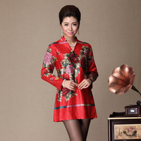 Middle-age women autumn top rich peony print wedding mother clothing autumn red long-sleeve outerwear