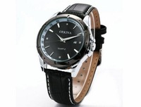 ORKINA Simple Black Casual Male Table Pointer Personalized Calendar Quartz Watch Men's Watches