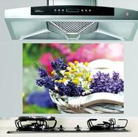 HD kitchen oil sticker 65*45cm flower greaseproof paper heat-resistant smoke exhaust wall stickers removable FJ-020