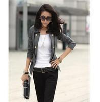 2014 new women's spring Autumn short denim jacket Women Ladies One Button Blazer Slim OL Casual Suit Jacket Coat Outerwear