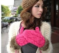 New fashion winter gloves cute female thick warm Halter knit gloves women mittens