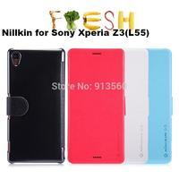 Free shipping 5pcs  nillkin for Sony Xperia Z3 L55  Flip leather case Fresh series + Retail box