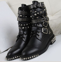 2014 Latest Motorcycle Buckle boots Full Rivets Military Boots for femininos Real leather