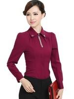 Korean Haute Couture Slim Beading Women Work Wear ol White Collar Shirts , Plus Size Blusas Female Free Shipping