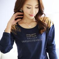 2014 autumn loose top plus size clothing long-sleeve basic shirt print cotton t-shirt female