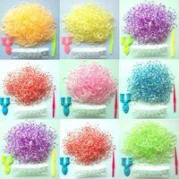 Free Shipping 2014 Newest  600pcs/lot Polka Dot Kids Loom Rubber Bands Toy Bracelet Twistz DIY Making Kit Set 24 Clips  Gift