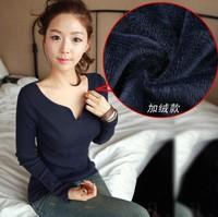 Plus velvet shirt Slim Korean version was thin thick warm long-sleeved t-shirt women sexy V-neck T-shirt solid color
