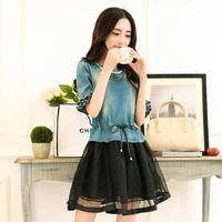 2014 Summer Slim Denim Spliced Vestido De Festa Hot New Butterfly Sleeve Mini Plus Size Women Dresses 505