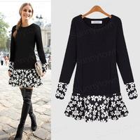New fashion autumn winter dresses women patchwork floral print casual dress xl 2xl 3xl 4xl 5xl plus size clothings work wear