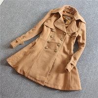 Free shipping Slim woolen overcoat double breasted navy style medium-long woolen outerwear female