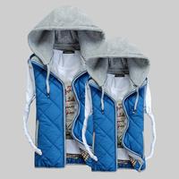 2014 Autumn Winter New Arrival Cotto-padded Rhombus Gird Men's Vest Good Quality Slim Sleeveless Jacekt For Both Men and Women