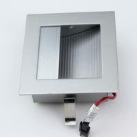 Free shipping 10pcs/lot  120 degree AC220V 2700-6500k 1W 100lm aluminum silver white body footlight wall mount led light