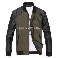 Autumn male jacket thin plus size slim men's clothing jacket stand collar vintage jacket male PU patchwork formal jacket coat