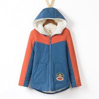 Large size women  New winter Lamb thick hooded coat Thin cotton  winter jacket