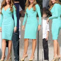 Party Dresses 2014 Fashion Light Green Evening Dress Vestido V-neck Slim long Sleeve Homecoming Mother Daughter Dress Free ship