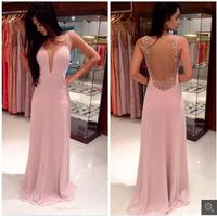 Shine Beaded Scoop Neckline Transparent Back Wholesale Fashion prom dresses sale Chiffon Pink Evening Party Gown LQ4793