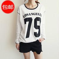 2014Fall women's fashion casual digital pattern number 79 losangeles printing printed women long sleeved T shirt