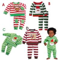 Autumn Christmas Girl's pajamas Kids stripe Pajama Sets Kids suits Clothes boys girls sleepwear pyjamas 4 style