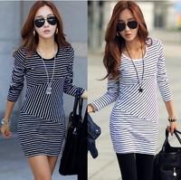 2014 Autumn new fashion women's All-Match cotton dress, long sleeve round collar Stripe slim casual dress style 2653