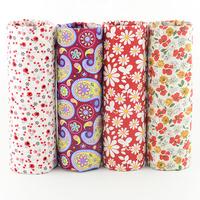 FREE SHIPPING 4 piece 45x50cm red christmas cotton poplin fabric fat quarter bundle dress sewing cloth quilting patchwork W4B1-1